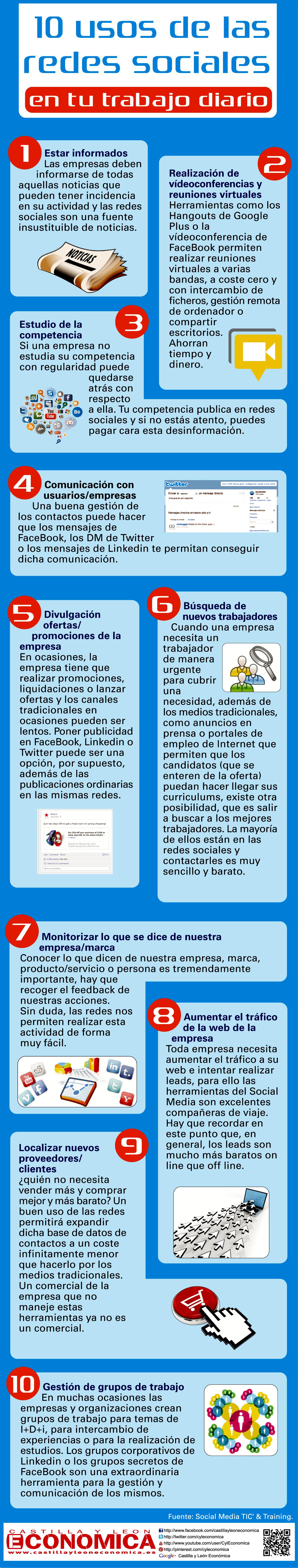 10 usos de las redes sociales en tu trabajo diario #infografia  #socialmedia